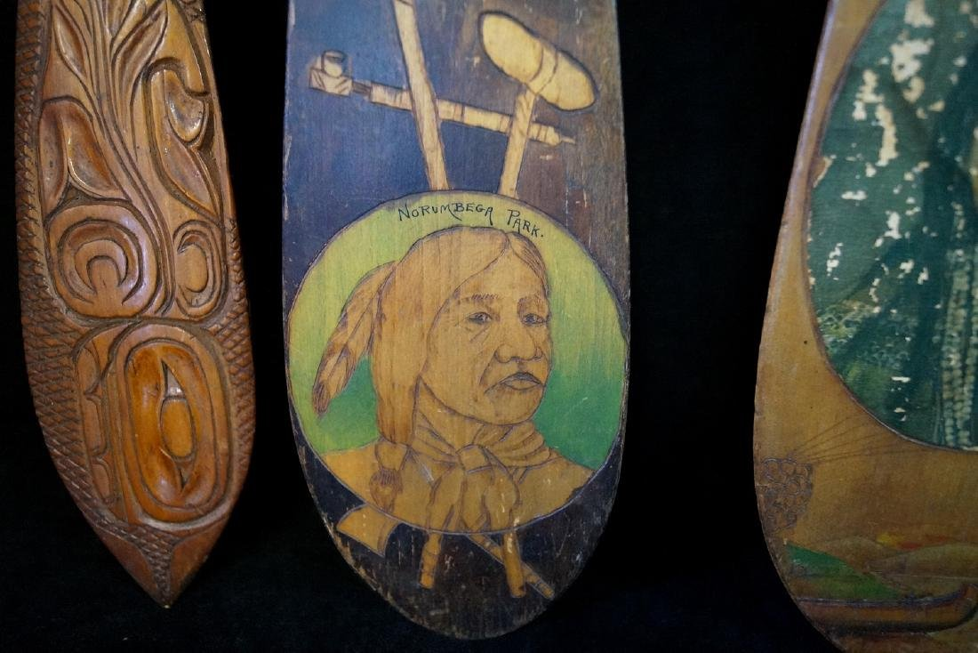 5 CARVED & PAINTED INDIAN MOTIF PADDLES - 3