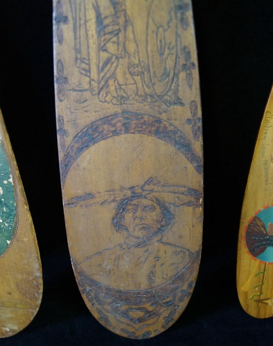 5 CARVED & PAINTED INDIAN MOTIF PADDLES - 4
