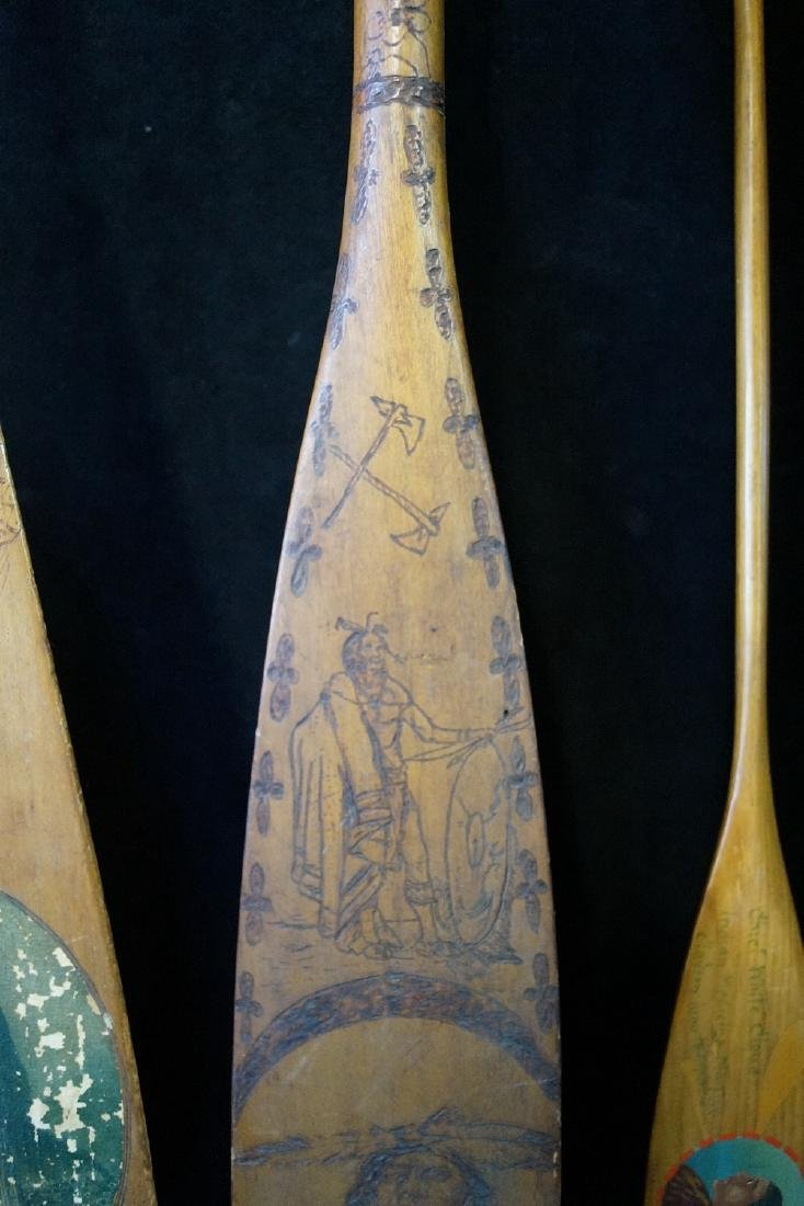 5 CARVED & PAINTED INDIAN MOTIF PADDLES - 5