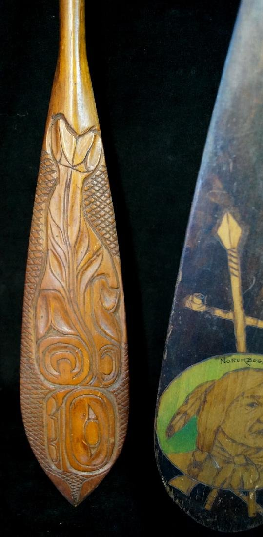5 CARVED & PAINTED INDIAN MOTIF PADDLES - 7