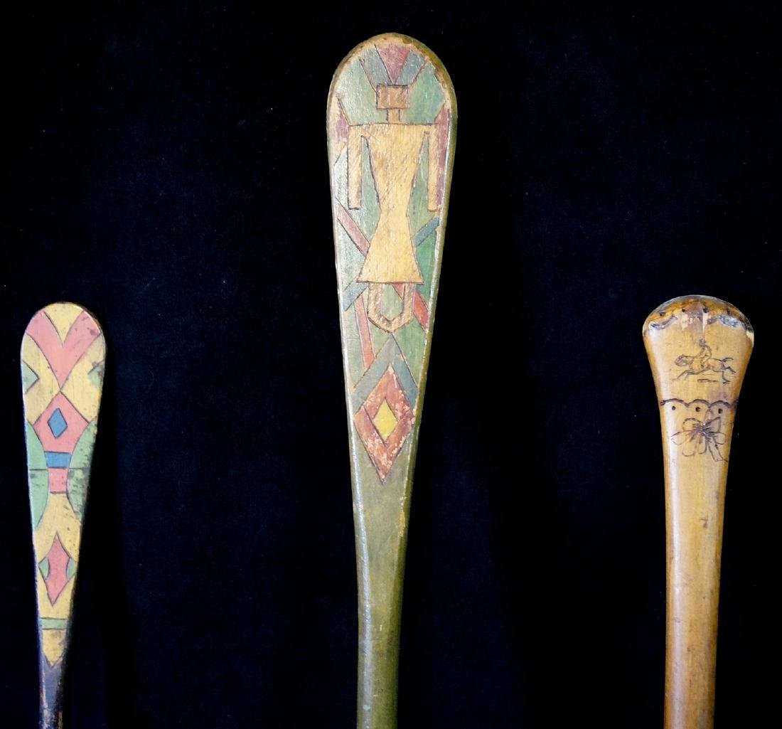 5 CARVED & PAINTED INDIAN MOTIF PADDLES - 8