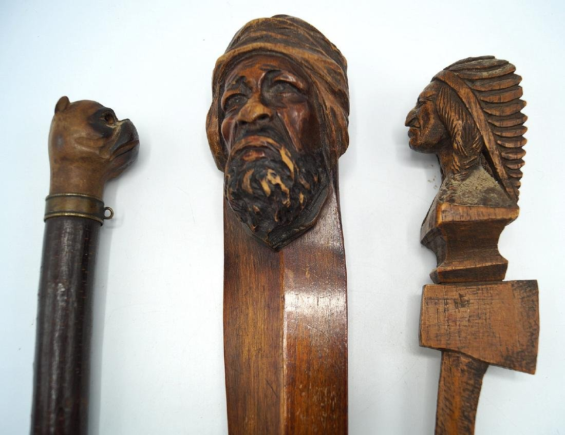 GROUP 3 FIGURAL CARVED PAGE TURNERS (INDIAN, DOG, ARAB) - 4