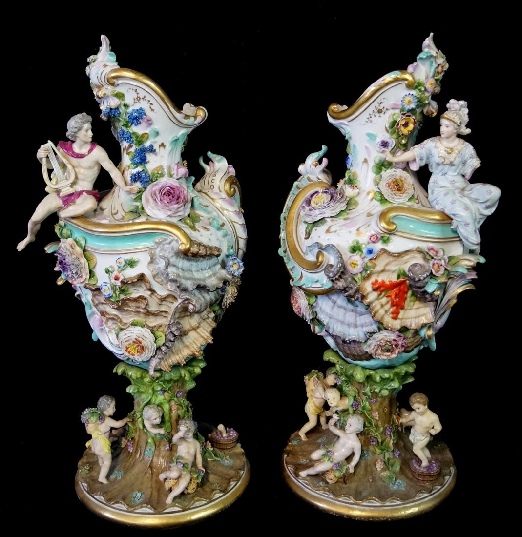 PR. LARGE 19TH C.  MEISSEN (?) FIGURAL URNS