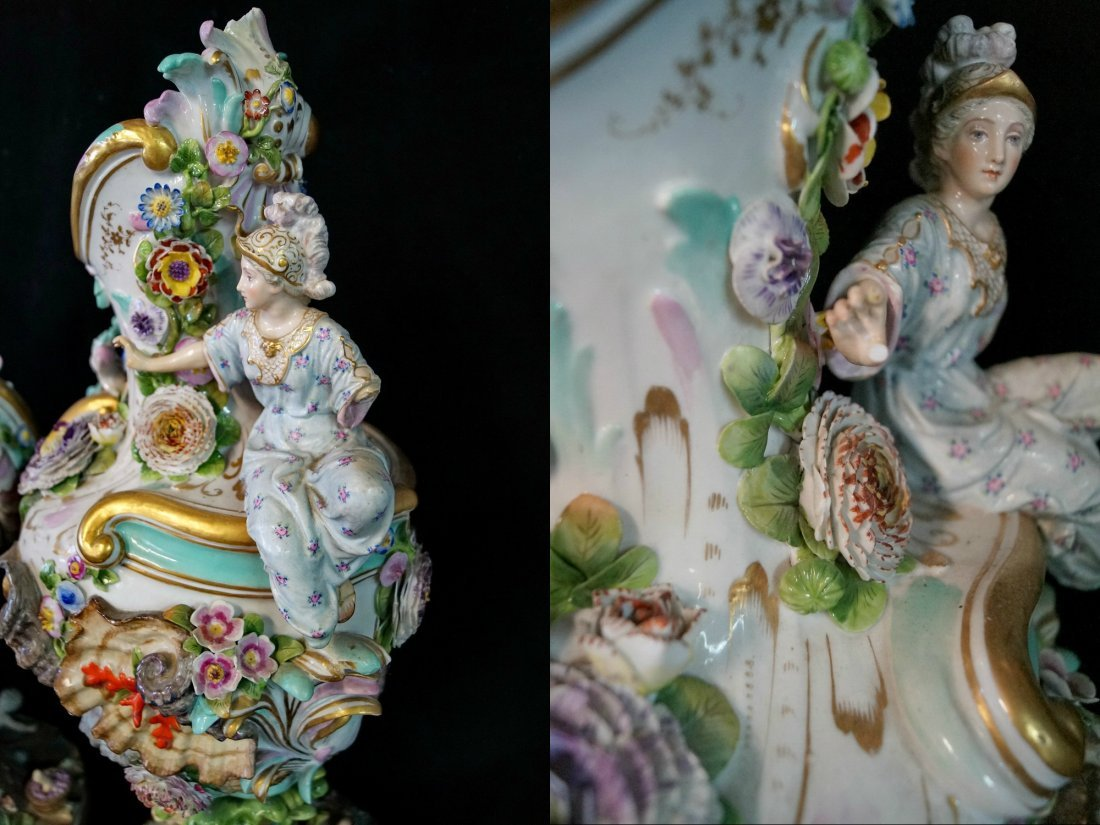 PR. LARGE 19TH C.  MEISSEN (?) FIGURAL URNS - 4
