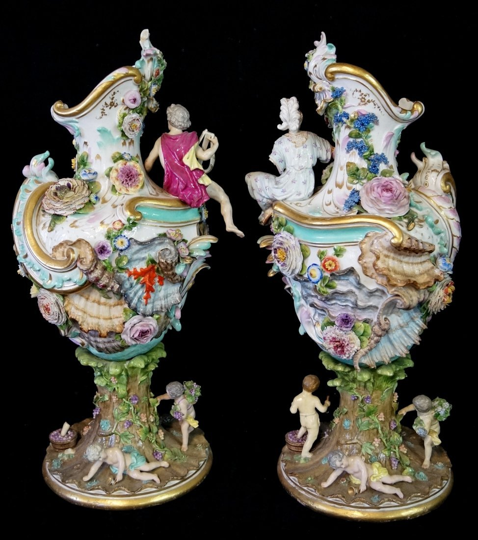 PR. LARGE 19TH C.  MEISSEN (?) FIGURAL URNS - 7