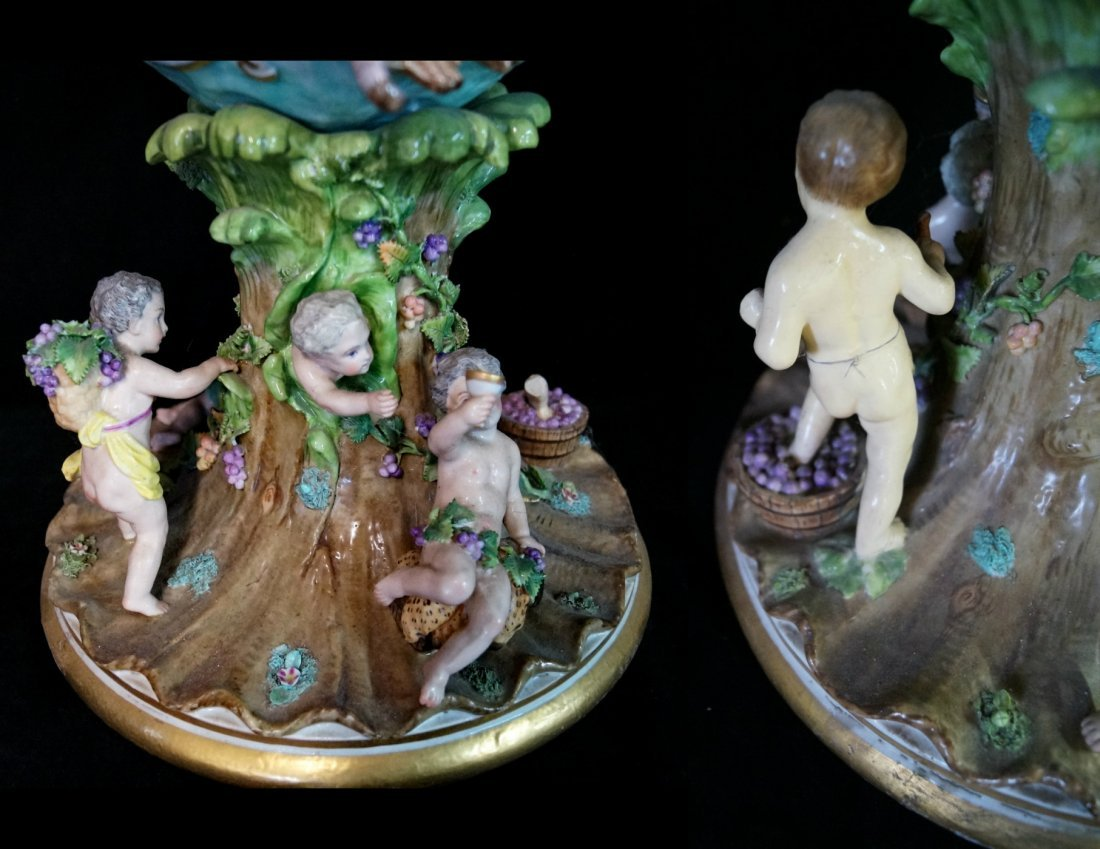 PR. LARGE 19TH C.  MEISSEN (?) FIGURAL URNS - 8