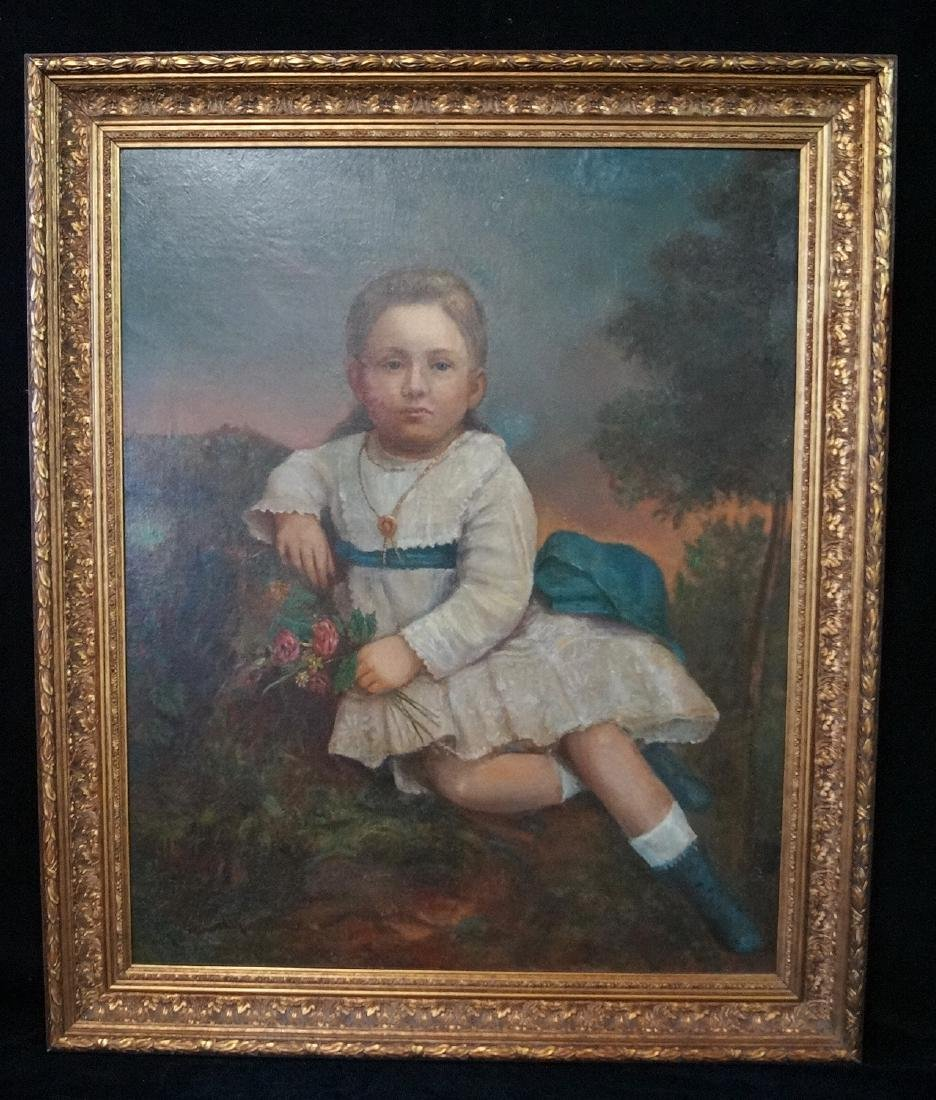 "OIL ON CANVAS ""YOUNG GIRL WITH FLOWERS"" 36X28"" GILT"