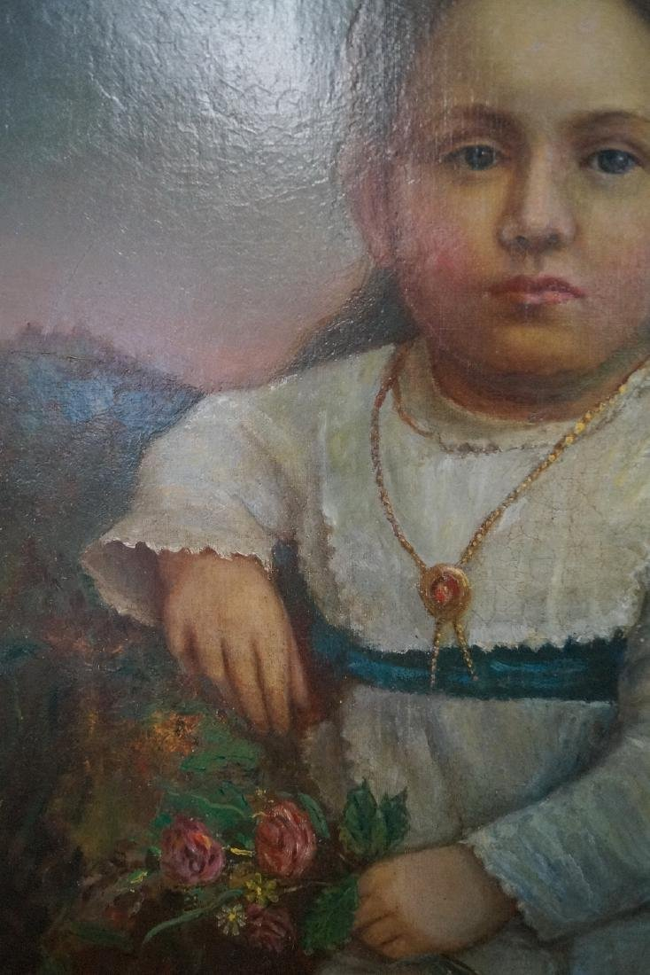 "OIL ON CANVAS ""YOUNG GIRL WITH FLOWERS"" 36X28"" GILT - 4"