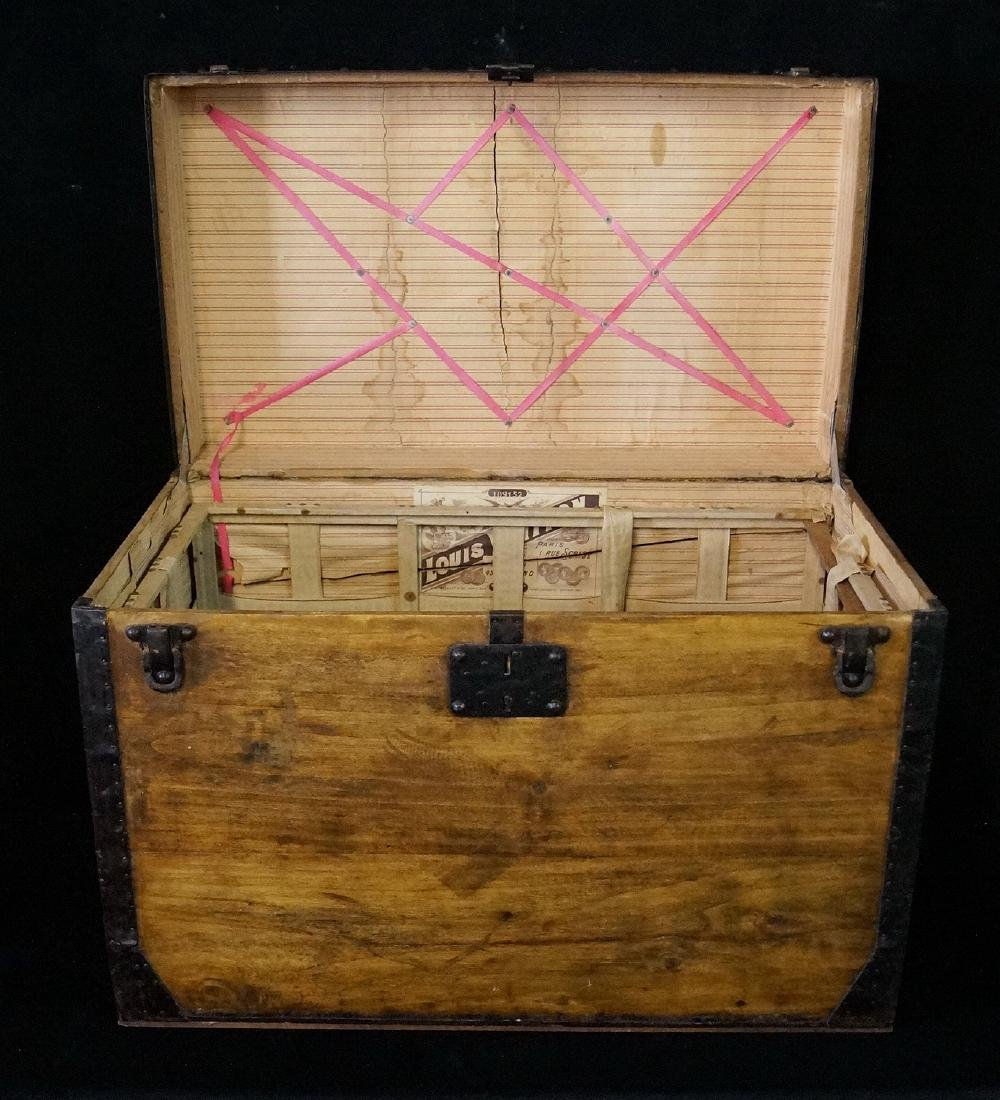 LOUIS VUITTON TRUNK W/ BASKET STRAPS, RIVETS & ORIGINAL - 3