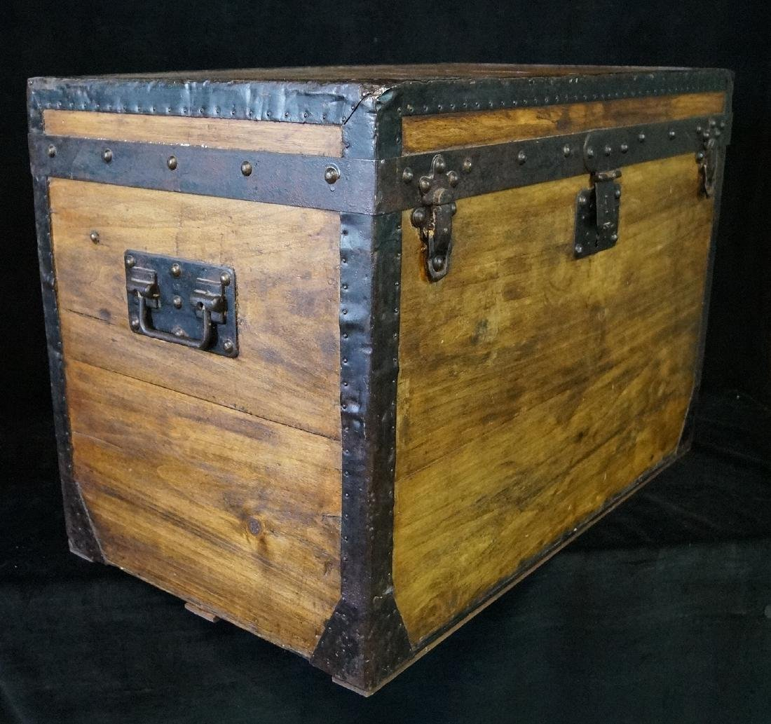 LOUIS VUITTON TRUNK W/ BASKET STRAPS, RIVETS & ORIGINAL - 6