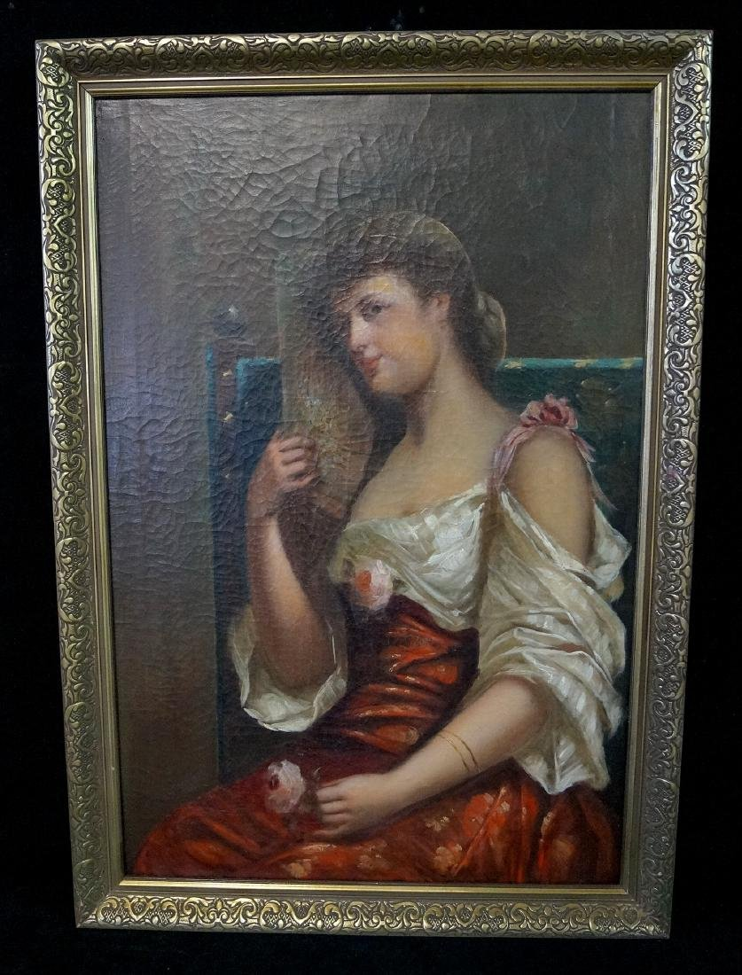 19TH C. OIL ON CANVAS PORTRAIT OF A WOMAN WITH RED