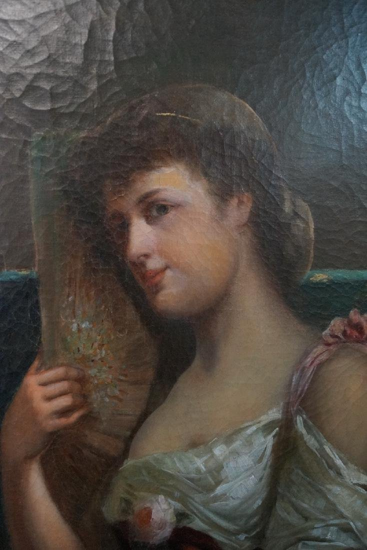 19TH C. OIL ON CANVAS PORTRAIT OF A WOMAN WITH RED - 2