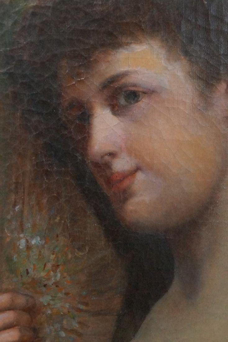 19TH C. OIL ON CANVAS PORTRAIT OF A WOMAN WITH RED - 3