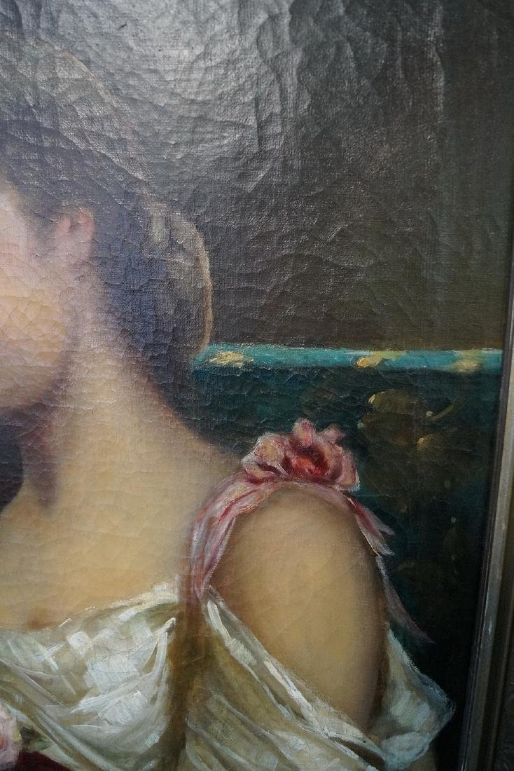 19TH C. OIL ON CANVAS PORTRAIT OF A WOMAN WITH RED - 6