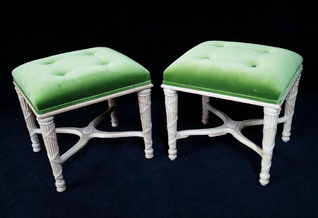 PR. DIRECTOIRE STYLE  UPHOLSTERED STOOLS
