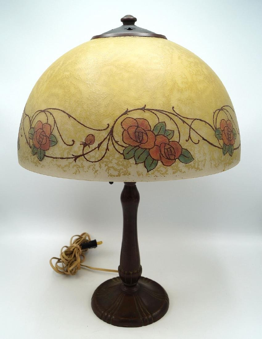 HANDEL LAMP W/REVERSE PAINTED & SGN. SHADE