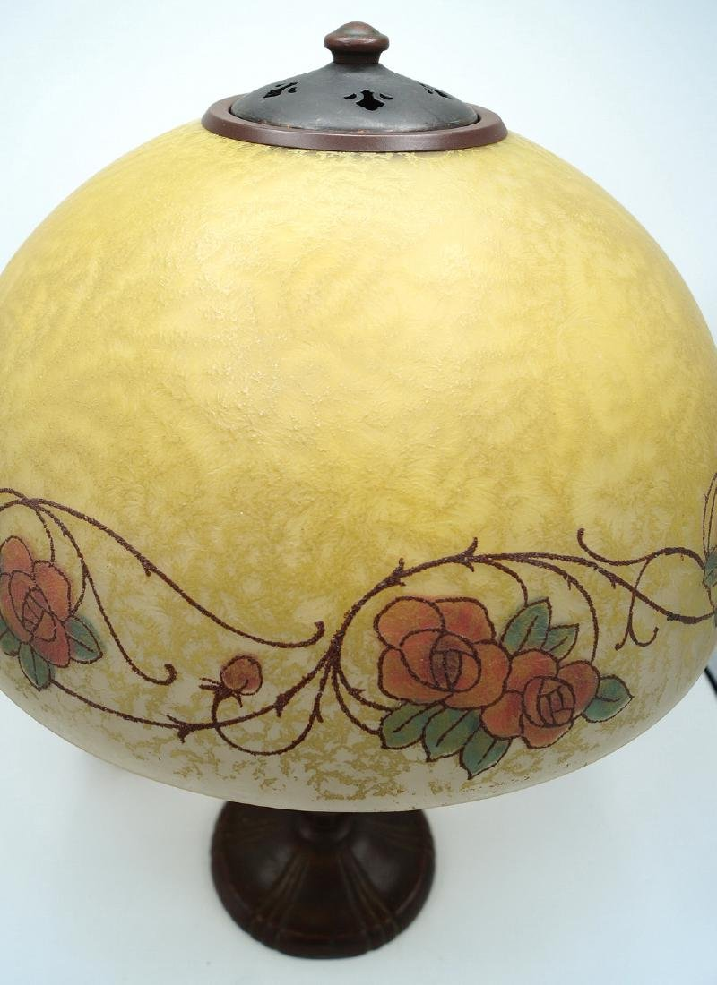 HANDEL LAMP W/REVERSE PAINTED & SGN. SHADE - 2