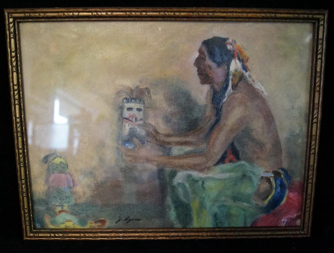 "J. LYONS SGN. OIL ON CANVAS ""NATIVE AMERICAN &"