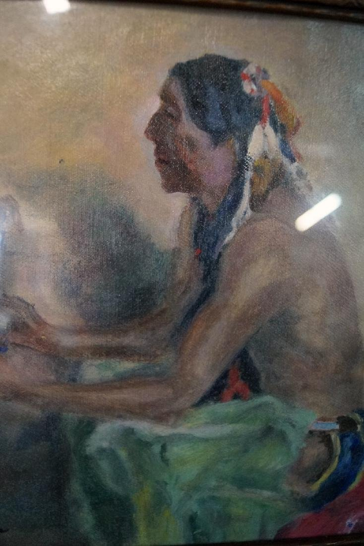 "J. LYONS SGN. OIL ON CANVAS ""NATIVE AMERICAN & - 3"