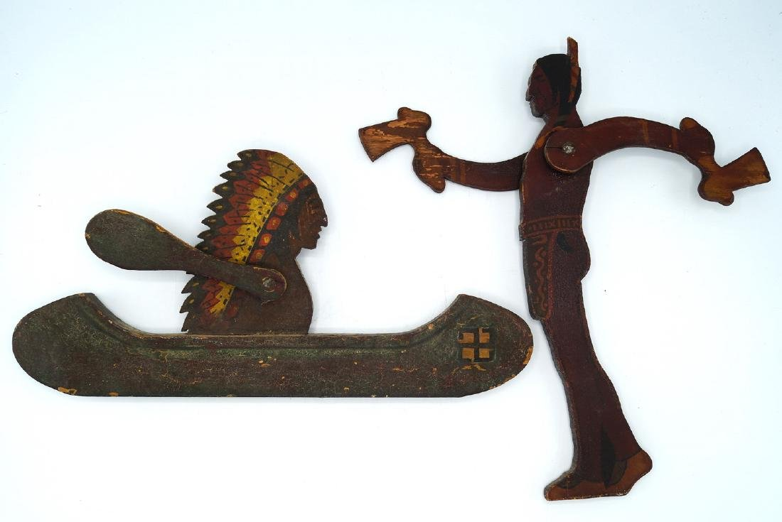 2 CARVED WOOD & PAINTED NATIVE AMERICAN WHIRLY-GIG;