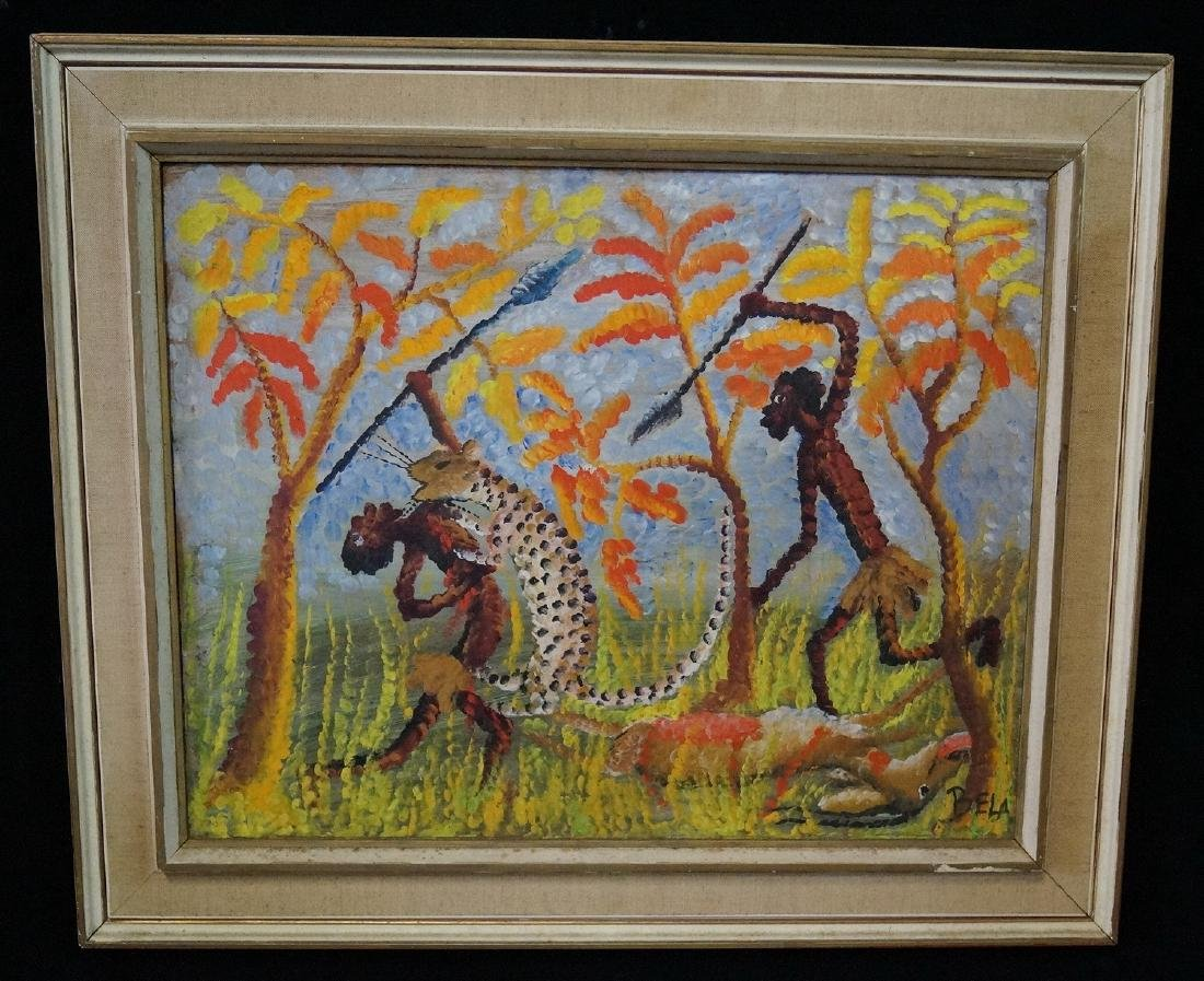 """BELA SGN. OIL ON BOARD """"HUNTING SCENE WITH CHEETAH"""""""