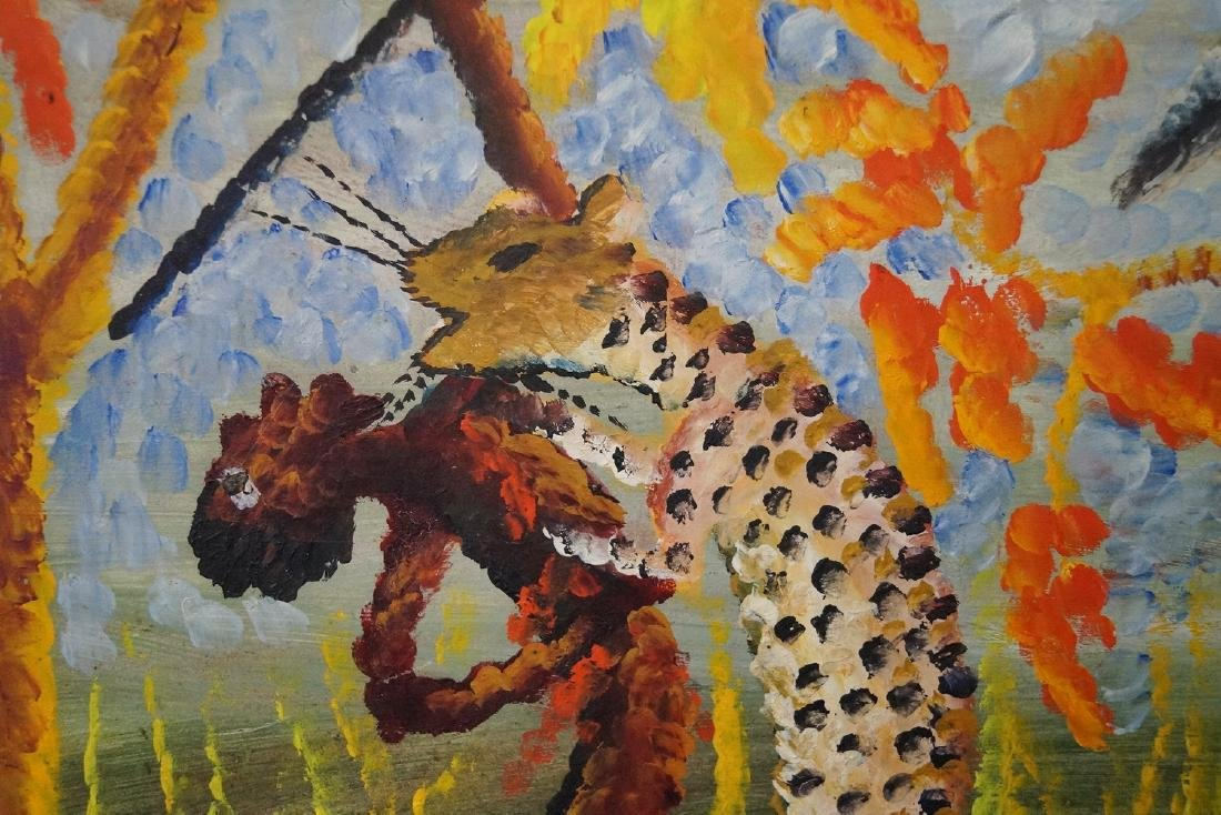 """BELA SGN. OIL ON BOARD """"HUNTING SCENE WITH CHEETAH"""" - 3"""