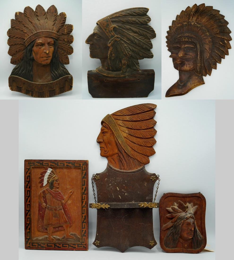 GROUP 6 INDIAN CARVED WOOD PLAQUES
