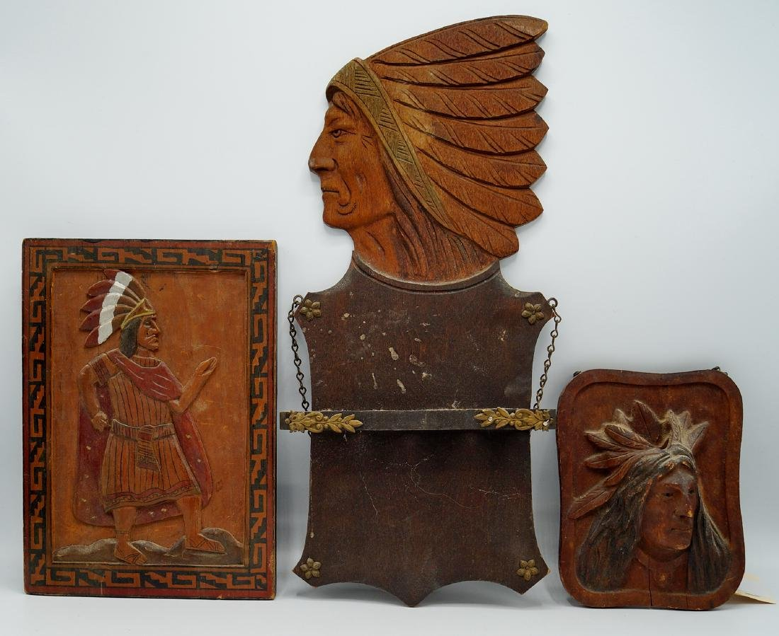 GROUP 6 INDIAN CARVED WOOD PLAQUES - 2