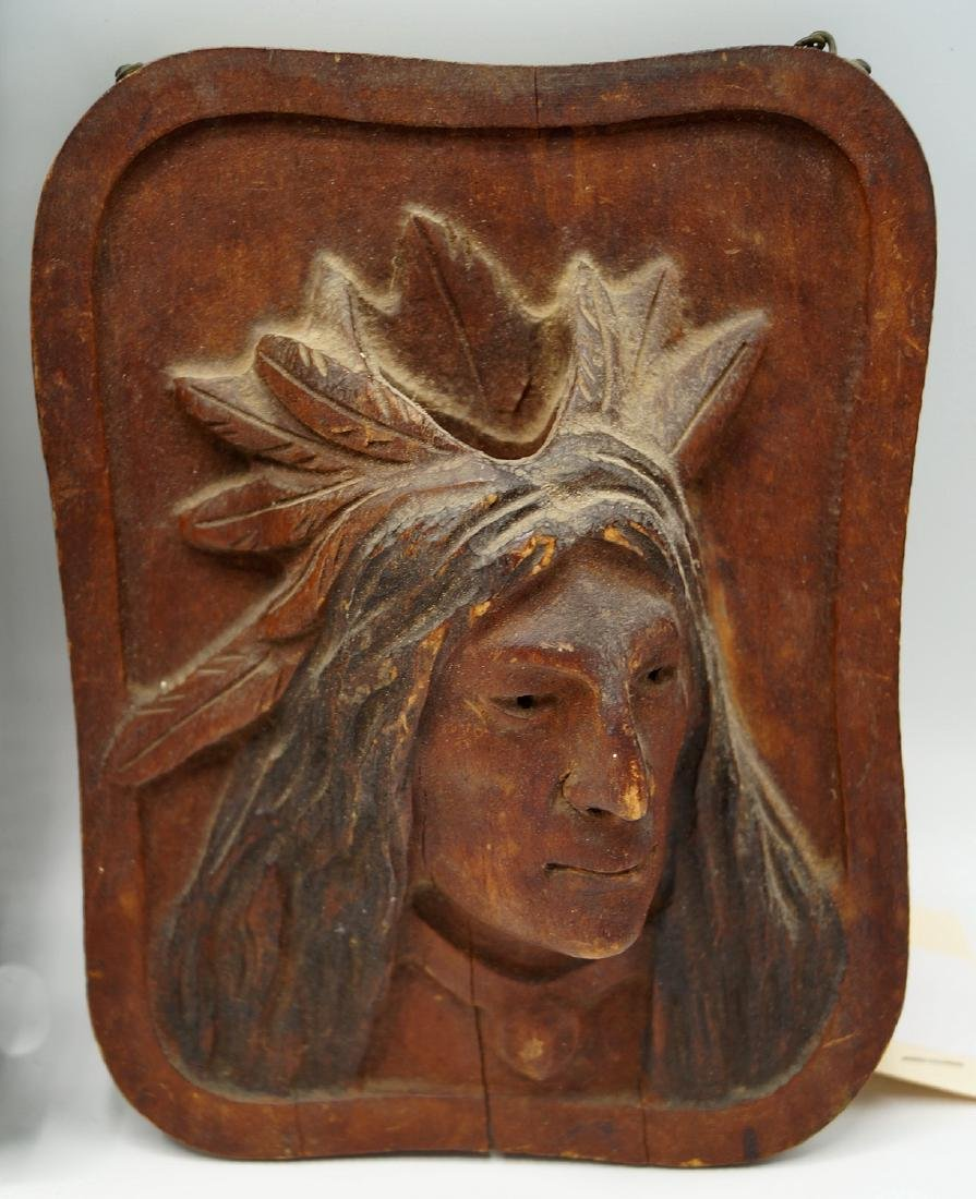 GROUP 6 INDIAN CARVED WOOD PLAQUES - 3