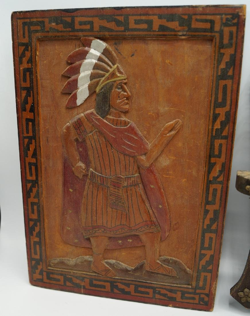 GROUP 6 INDIAN CARVED WOOD PLAQUES - 6