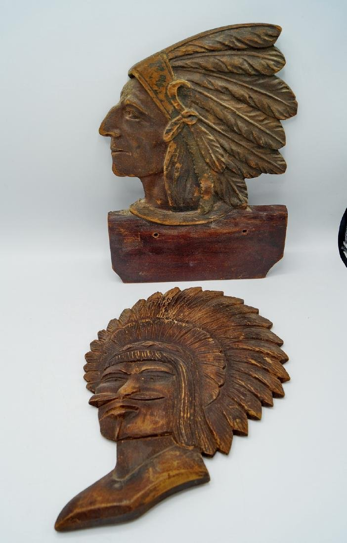 GROUP 6 INDIAN CARVED WOOD PLAQUES - 7