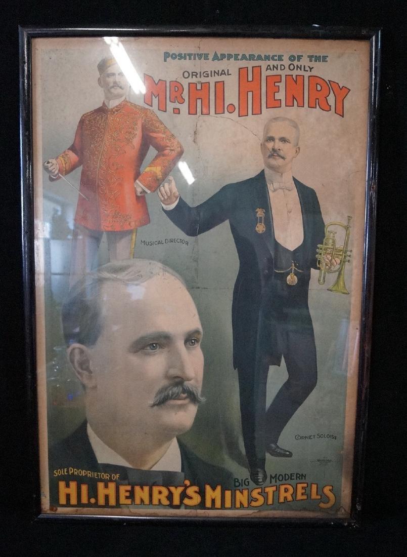 19TH C. POSTER: MR HI. HENRY MINSTRELS