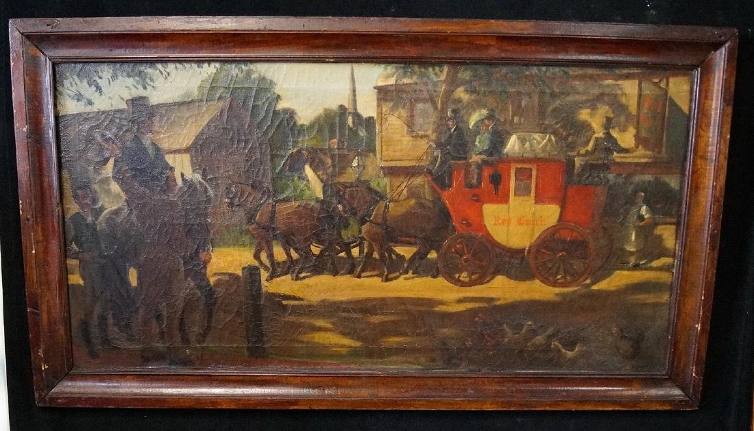 """OIL ON CANVAS SIGNED """"STAGE COACH""""  20 X 39"""""""