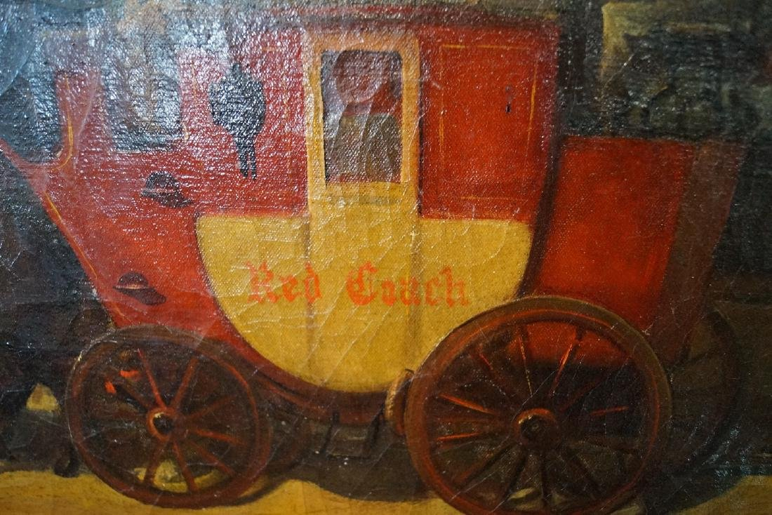 """OIL ON CANVAS SIGNED """"STAGE COACH""""  20 X 39"""" - 3"""