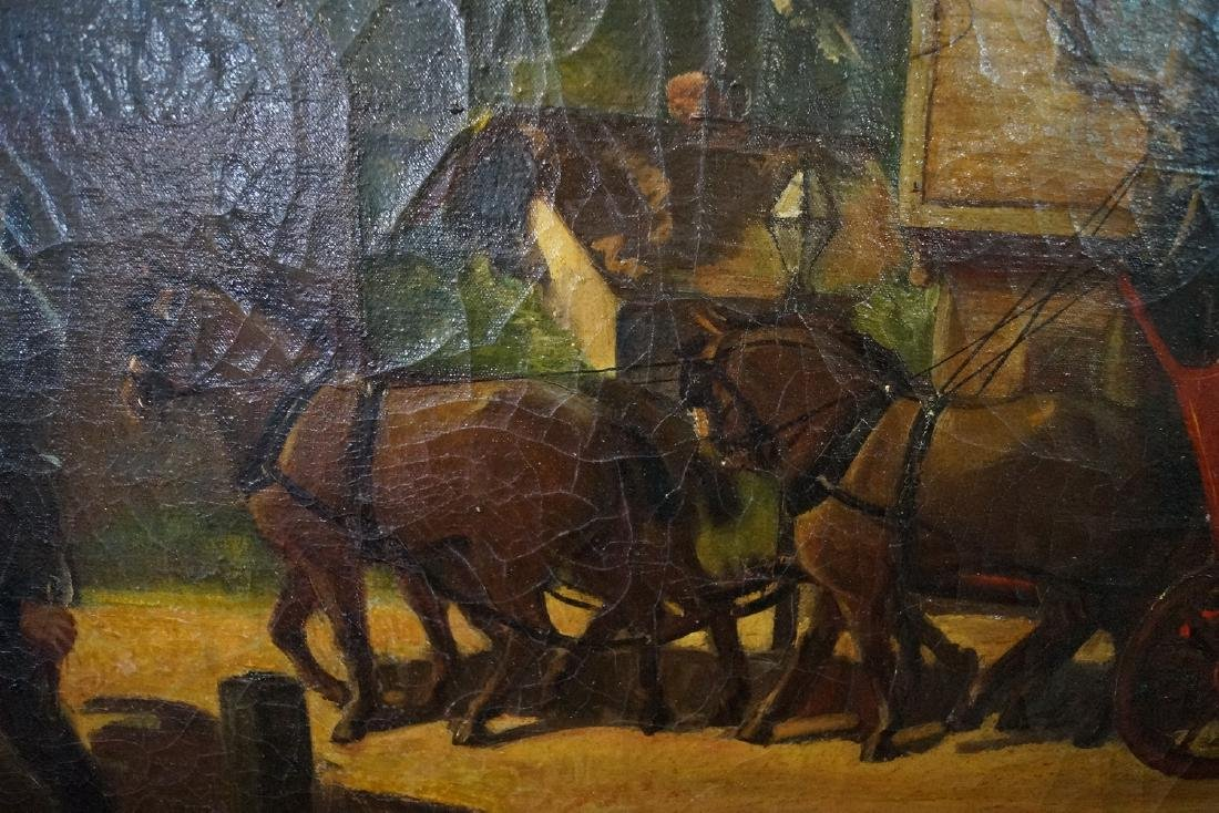"""OIL ON CANVAS SIGNED """"STAGE COACH""""  20 X 39"""" - 4"""