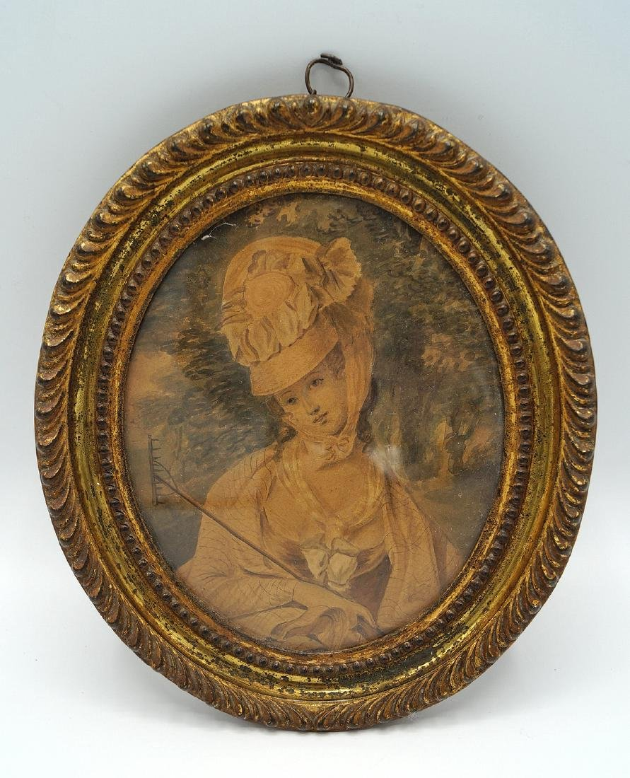 EARLY OVAL FRAMED WATERCOLOR PORTRAIT