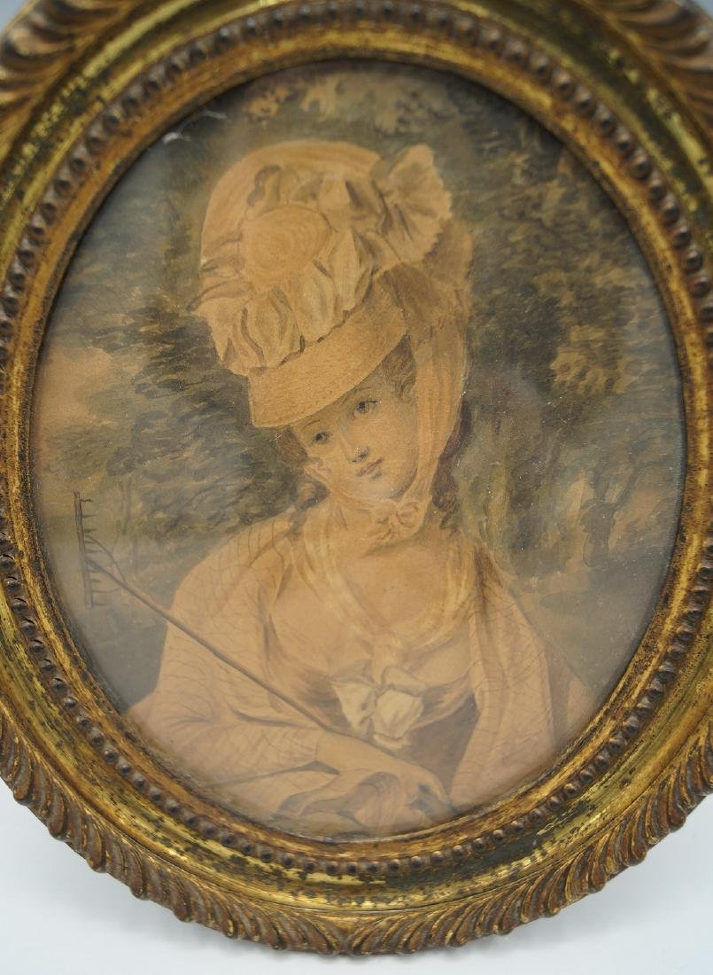 EARLY OVAL FRAMED WATERCOLOR PORTRAIT - 2