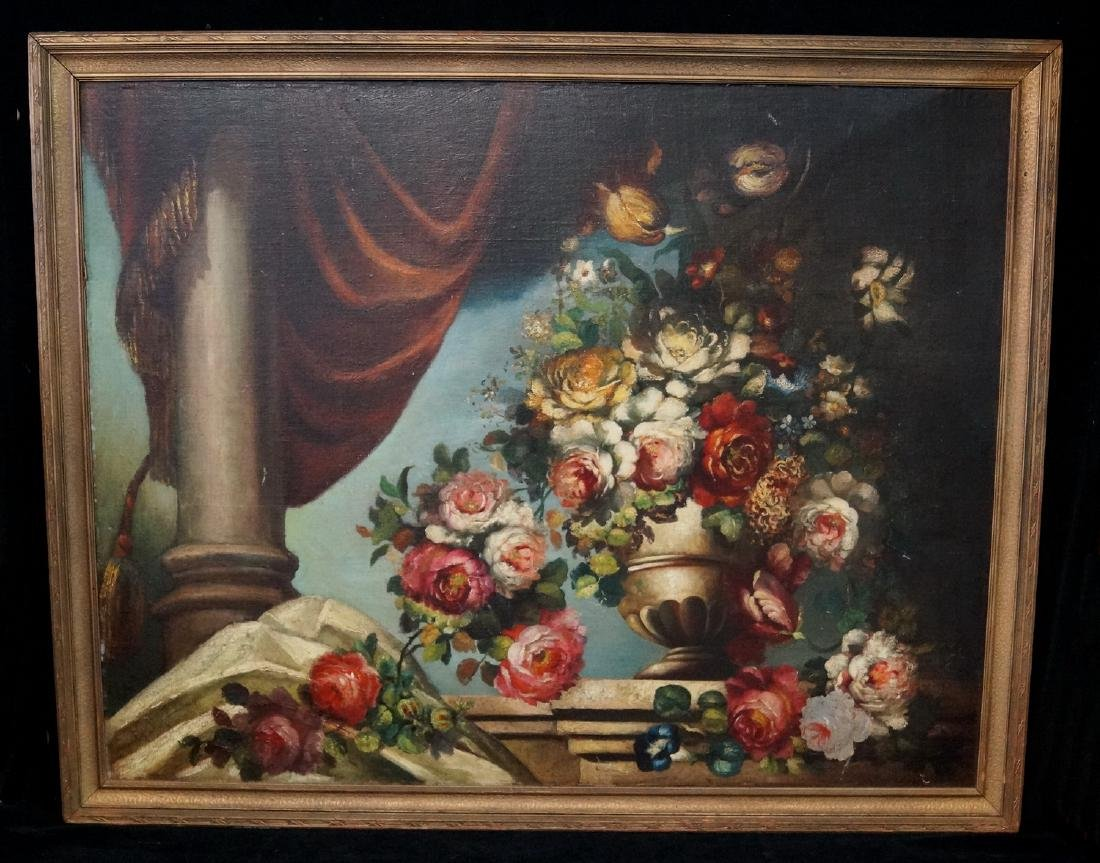 OIL ON BOARD FLORAL STILL LIFE SGN. INDISTINCTLY