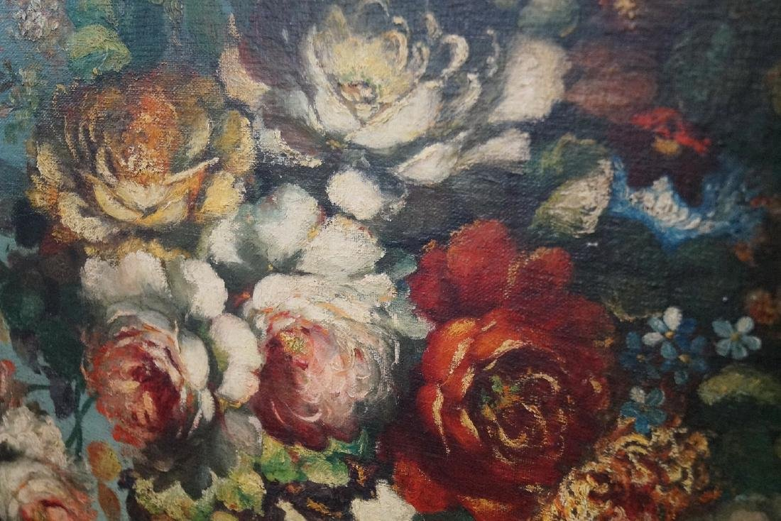 OIL ON BOARD FLORAL STILL LIFE SGN. INDISTINCTLY - 2