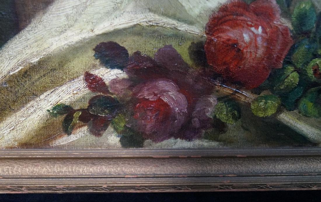OIL ON BOARD FLORAL STILL LIFE SGN. INDISTINCTLY - 5