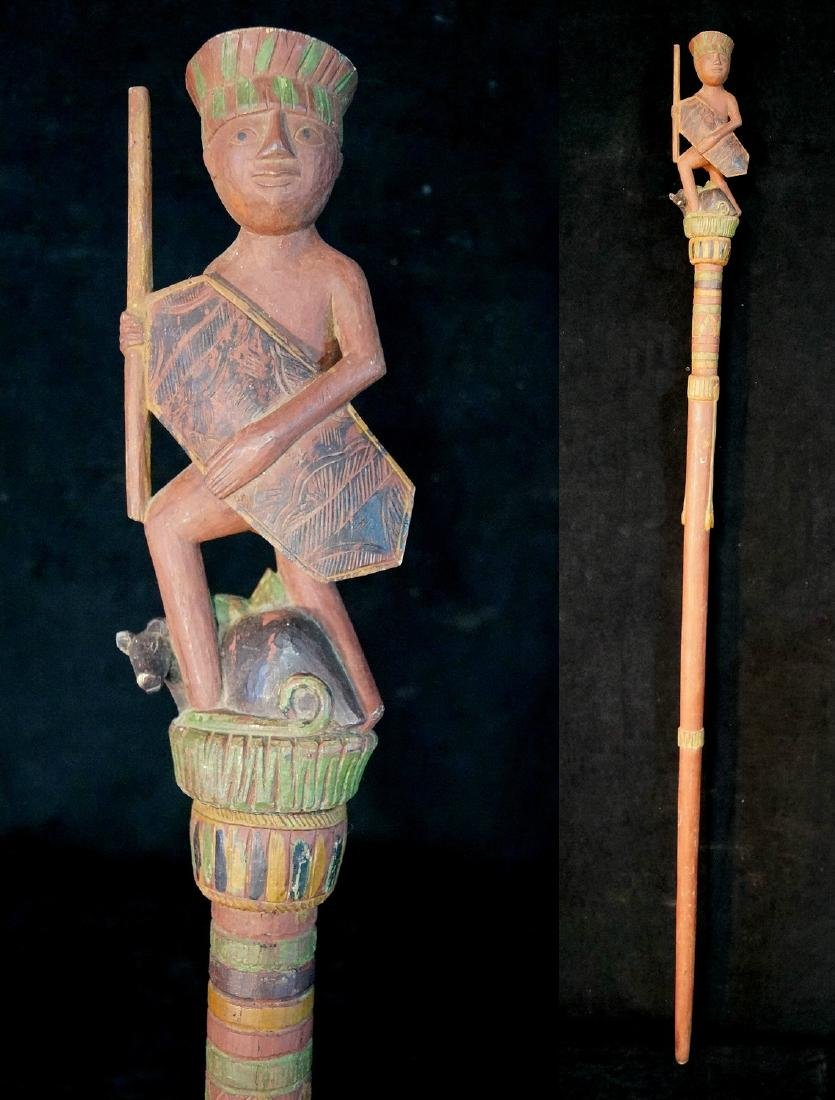 "VINTAGE CARVED WOOD FIGURAL WALKING STICK 62""L"