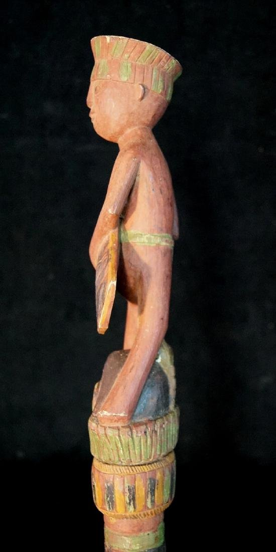 "VINTAGE CARVED WOOD FIGURAL WALKING STICK 62""L - 3"