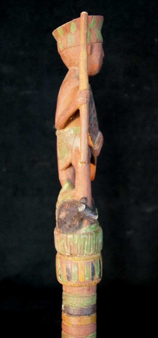 "VINTAGE CARVED WOOD FIGURAL WALKING STICK 62""L - 5"
