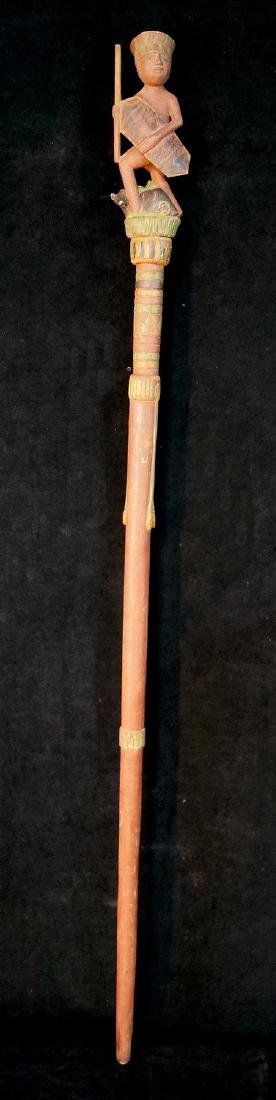 "VINTAGE CARVED WOOD FIGURAL WALKING STICK 62""L - 6"