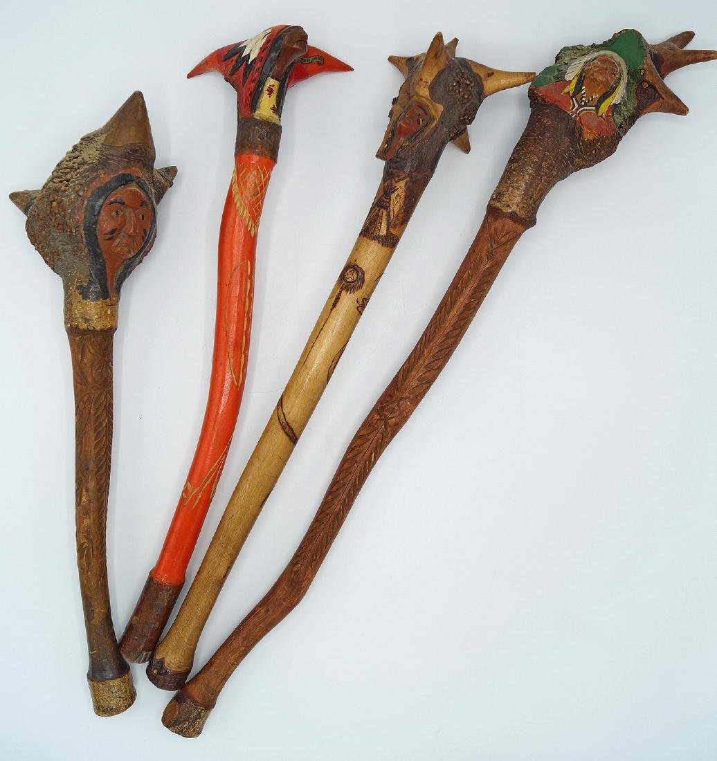 LOT CARVED ROOT CLUBS W/INDIAN MOTIF
