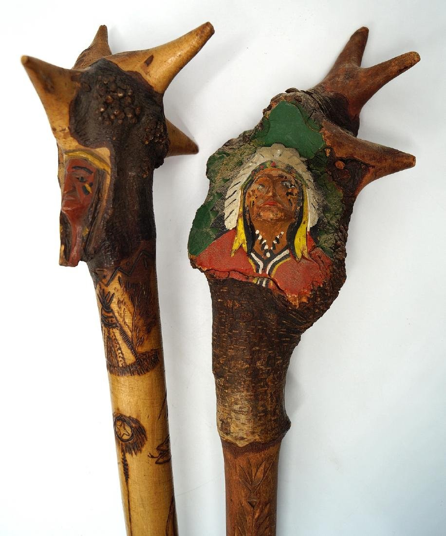 LOT CARVED ROOT CLUBS W/INDIAN MOTIF - 6