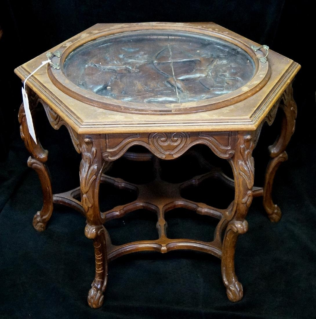 WALNUT TRAY TOP TABLE W/INDIAN MOTIF