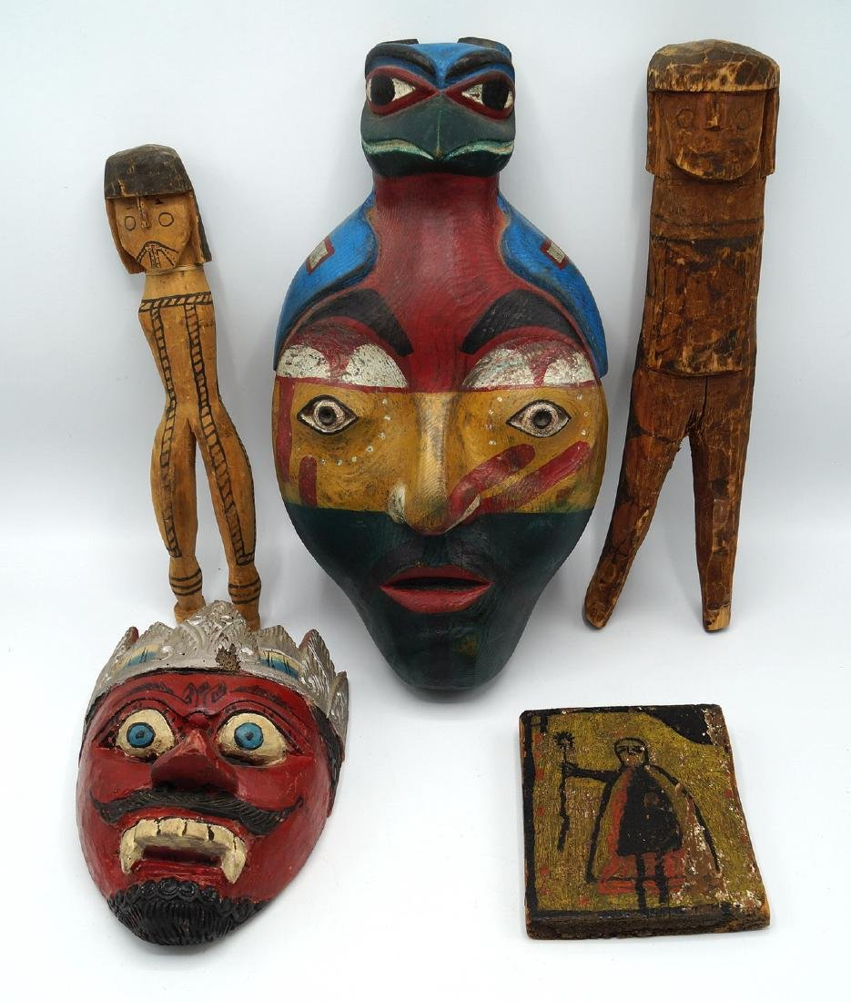 TRAY LOT PAINTED WOOD ITEMS, INC. MASKS