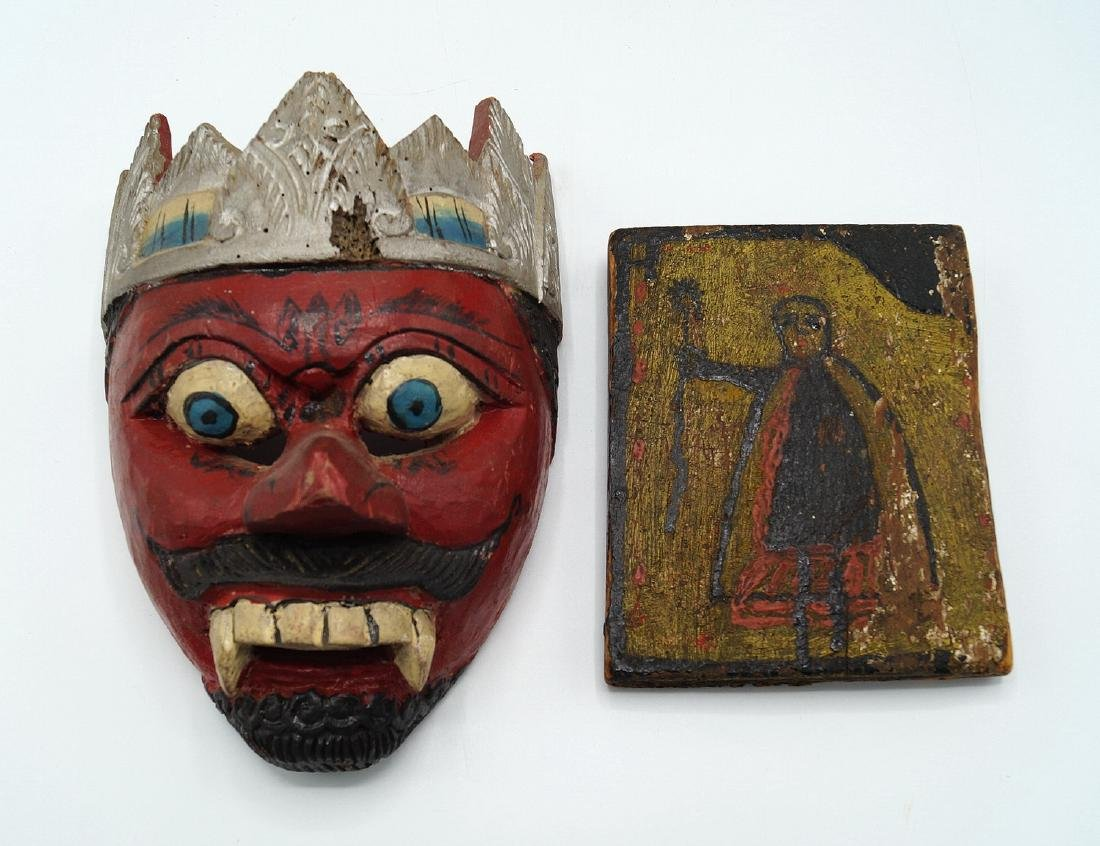 TRAY LOT PAINTED WOOD ITEMS, INC. MASKS - 3