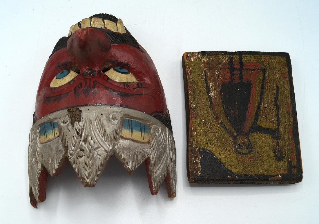 TRAY LOT PAINTED WOOD ITEMS, INC. MASKS - 4